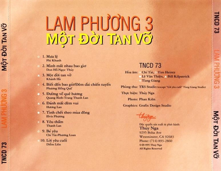 Lam Phương 3 ( Một Đời Tan Vỡ )